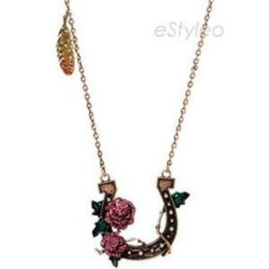 Betsey Johnson Necklace Lady Luck Rose Horseshoe
